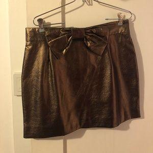 Metallic Bronze Mini Skirt